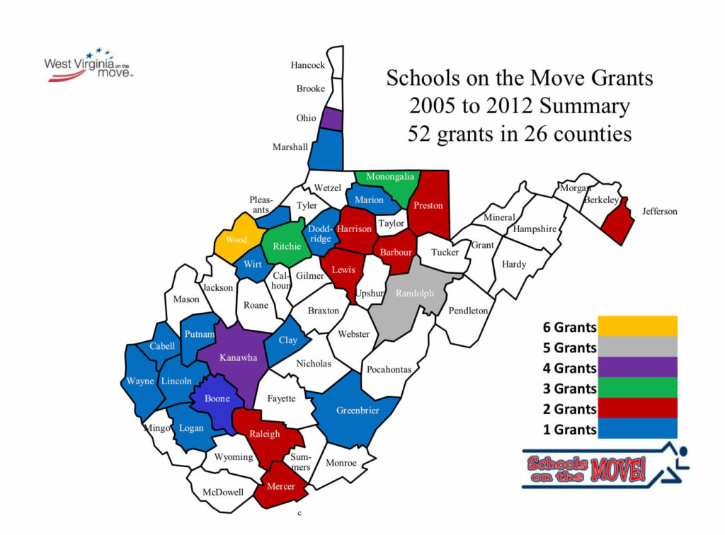 This is a graphic of the Schools on the Move Grants 2005 to 2012 Summary. 52 grants were awarded in 26 West Virginia counties.