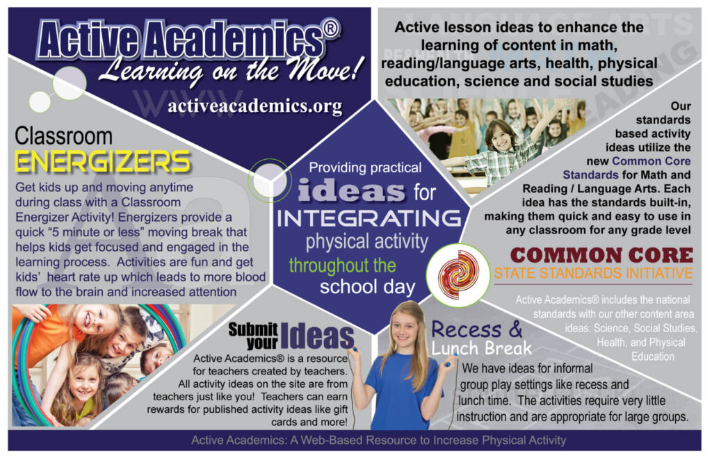 This is an Active Academics graphic with details about providing practical ideas for integrating physical activity throughout the school day.