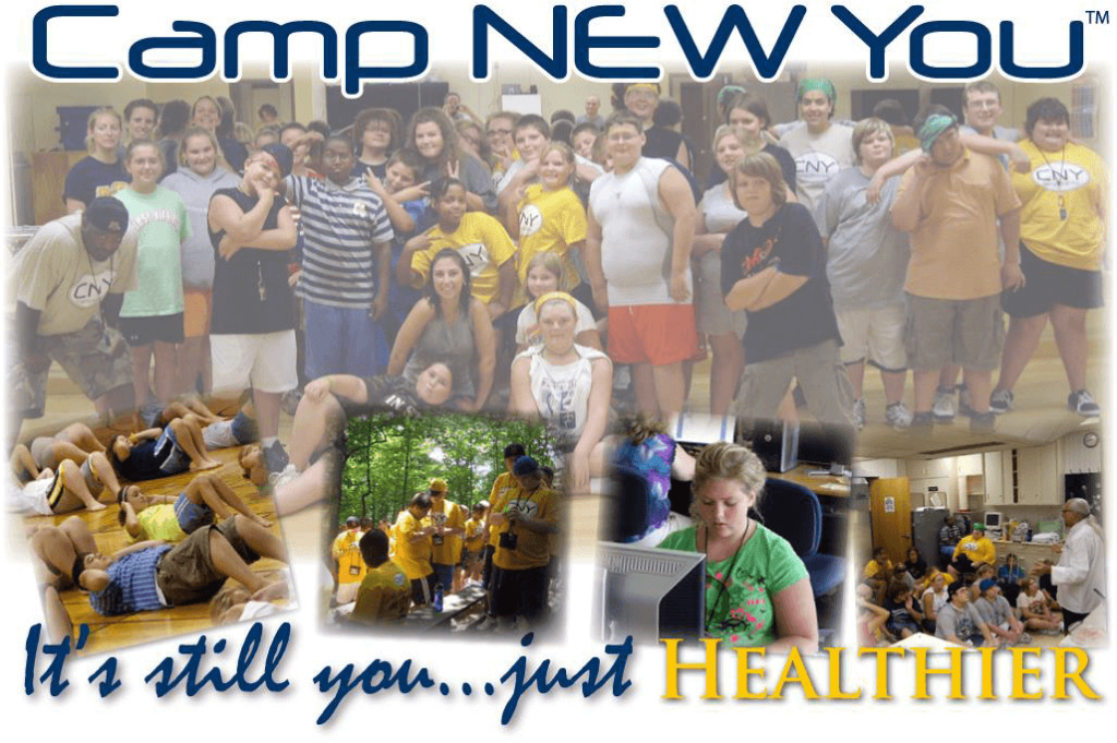 "This is a Camp New You logo graphic that says, ""It's still you... just healthier."" The graphic features images of kids posing together, exercising, in nature, and in classroom settings."