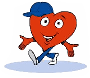 This is the WV CARDIAC Project logo which depicts a cartoon heart character with a baseball cap smiling and walking.