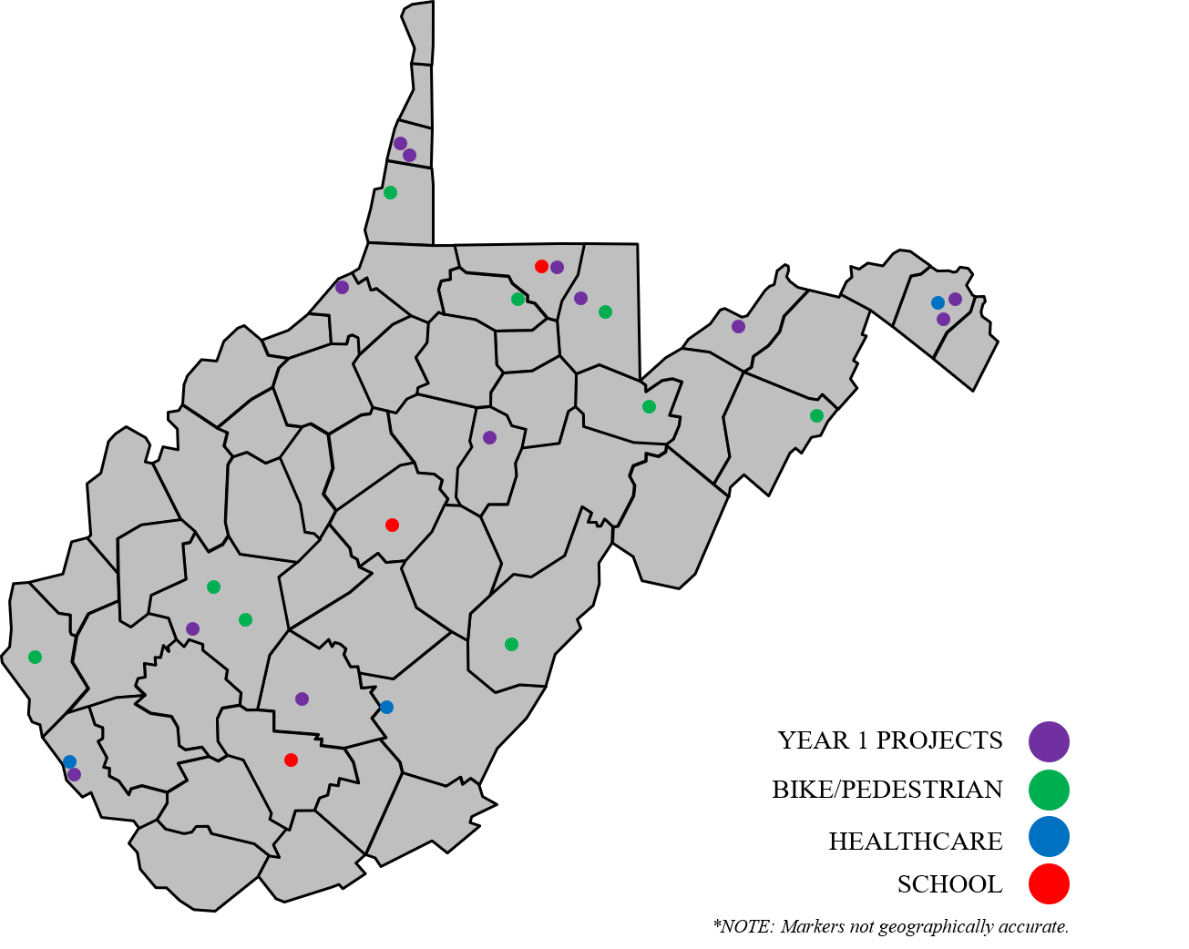 This is a map for the grant program with markers indicating various projects and fields of focus.